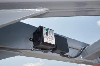inline bale trailer has a safety break-away kit